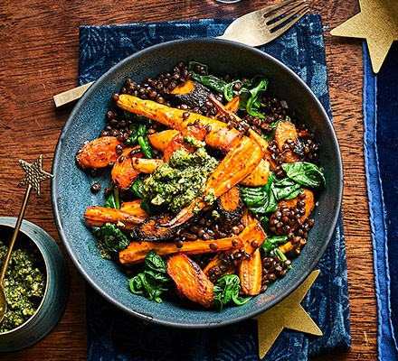 Root veg lentil bowl with herb pistou served in a bowl
