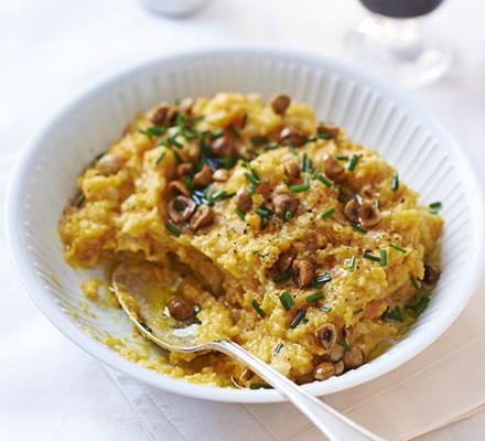 Mashed peppered roots with toasted hazelnuts