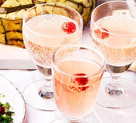 Raspberry & rose spritzers