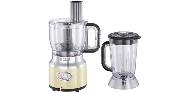 Russell Hobbs retro cream food processor on a white background