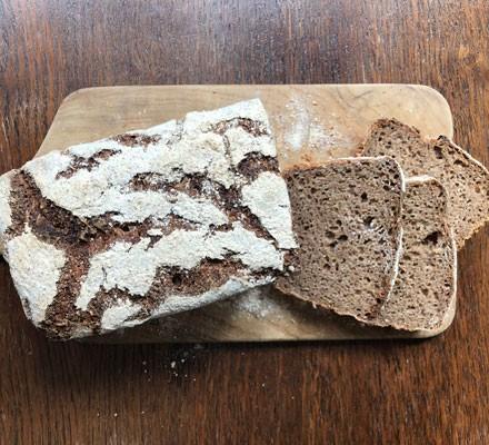 Rye sourdough loaf in slices