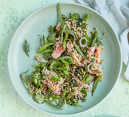 Sea trout & buckwheat salad with watercress & asparagus