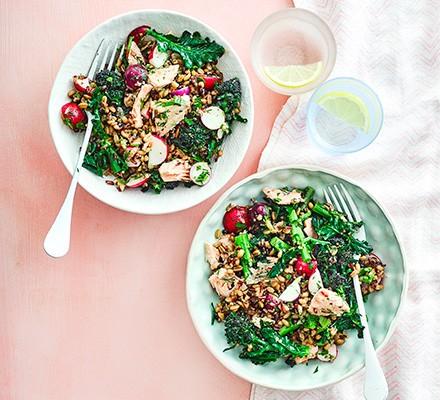 Salmon & purple sprouting broccoli grain bowl