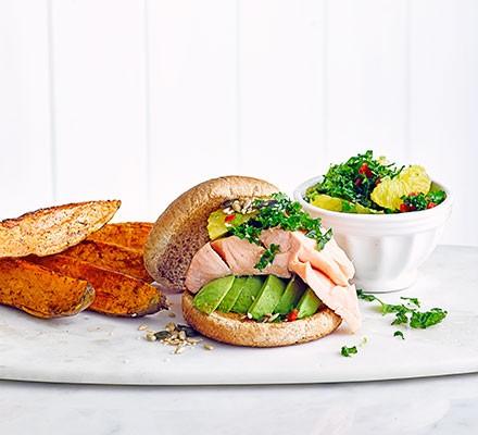 Salmon burgers with kale salsa