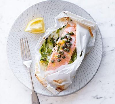 Salmon & leek parcel