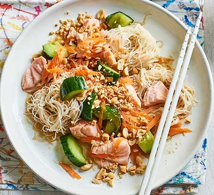Salmon & smacked cucumber noodles in a bowl