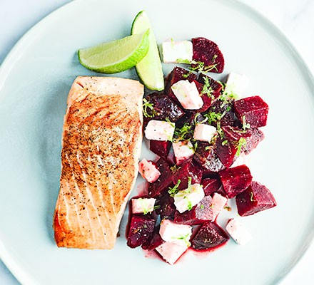 A plate serving salmon with beetroot, feta & lime salsa