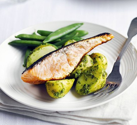 Salmon with salsa verde new potatoes