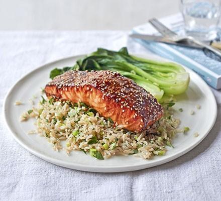 Sticky teriyaki salmon rice