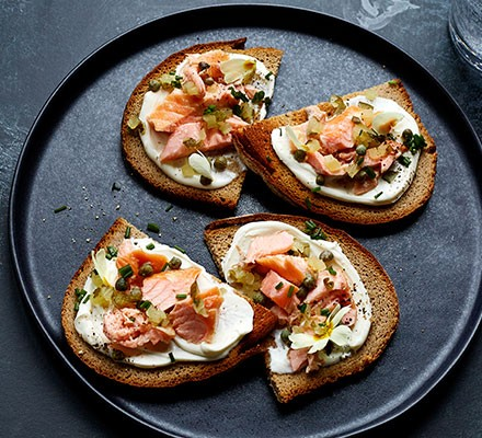 Smoked salmon tartines served on a plate
