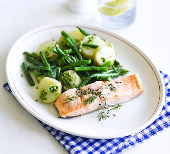 Salmon with new potato & watercress salad