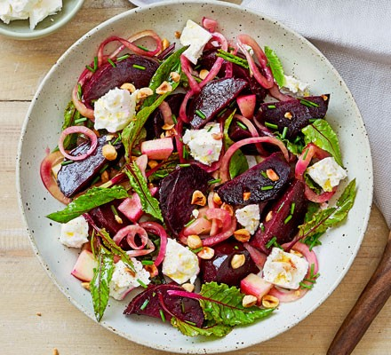 Salt-baked beetroot with feta & pickled onions