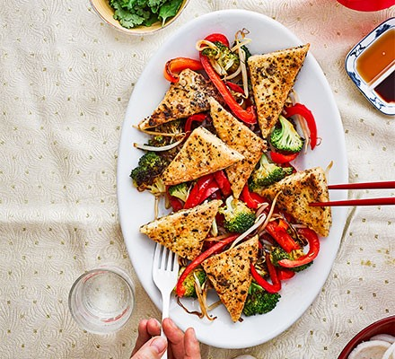 Salt & pepper tofu served on a plate