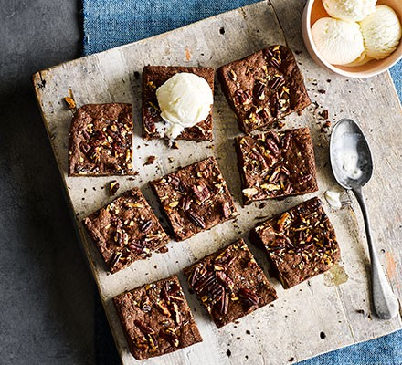Salted chocolate & hazelnut brownies cut into squares