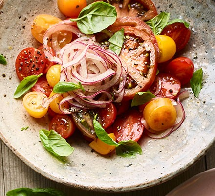 Salted tomato salad served on a plate