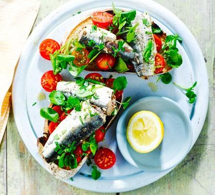Sardines & tomatoes on toast