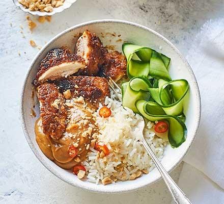 Satay chicken rice bowl
