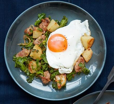 Sausage & kale hash