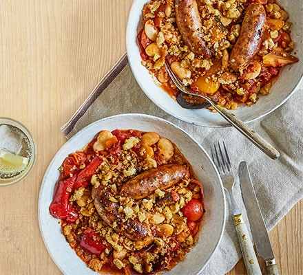 Super-easy sausage casserole served in bowls