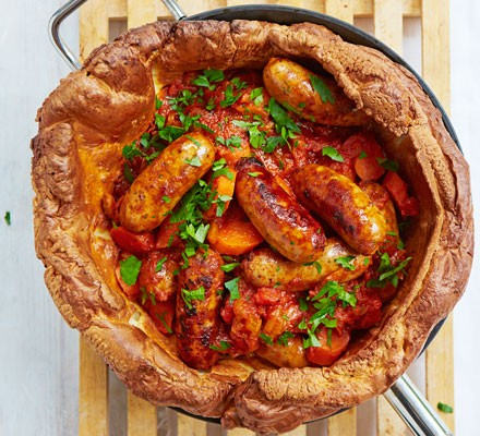Sausage casserole in Yorkshire pudding