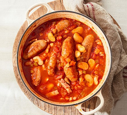Sausage cassoulet in a casserole dish