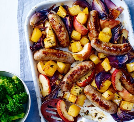 Sausage & maple swede traybake