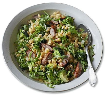 Warm sausage & broccoli pasta salad