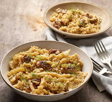 Sausage & fennel risotto served in bowls