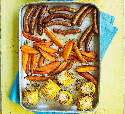 Sausage, sweet potato & sweetcorn tray bake
