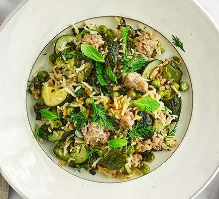 Easy sausage & courgette pilaf in a bowl