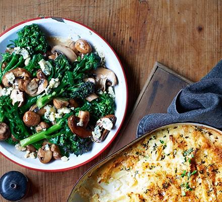 Sautéed sprouting broccoli with mushrooms & stilton