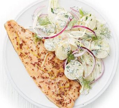 Scandi trout with fennel potato salad