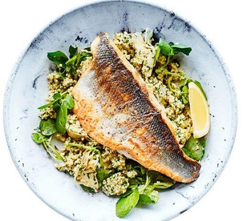 Sea bass fillet on a bed of artichoke salad