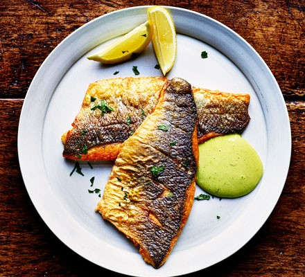 Sea bass with mayonnaise on plate