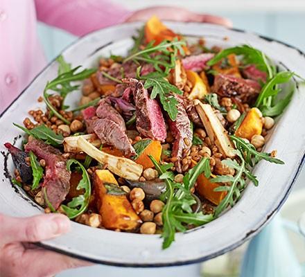 Seared beef, spelt & butternut salad