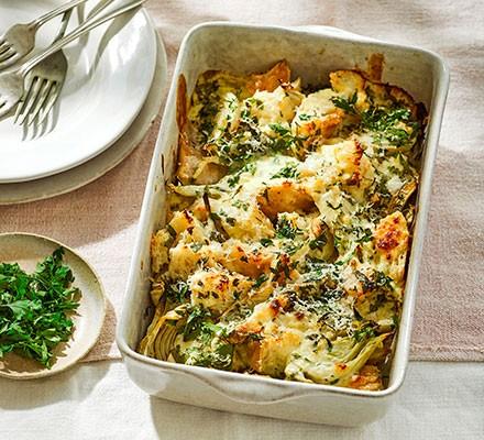 Roast fennel & bread gratin in a roasting dish