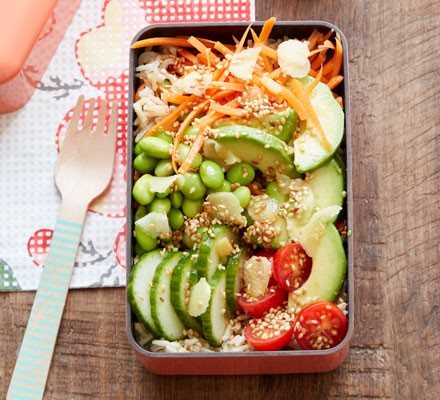 Sesame and ginger sushi bowls in a lunchbox