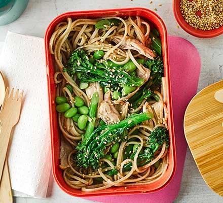Sesame, edamame & chicken noodle salad in Tupperware