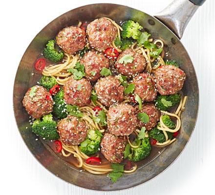 Sesame pork meatballs with chilli noodle broth