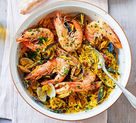 Shellfish, orzo & saffron stew