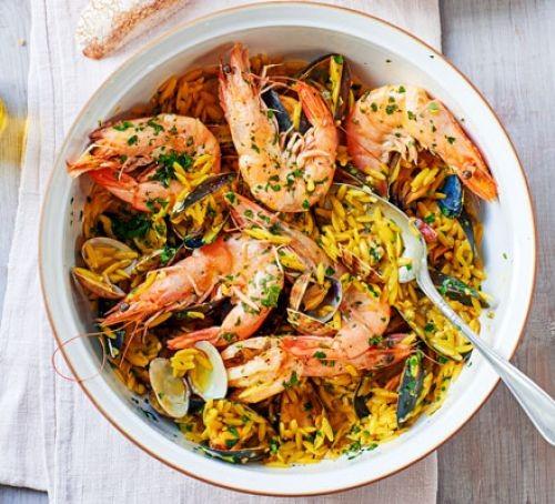 Shellfish, orzo and saffron stew