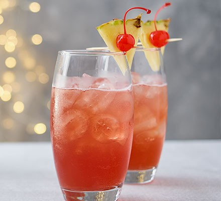 Two Singapore sling cocktails