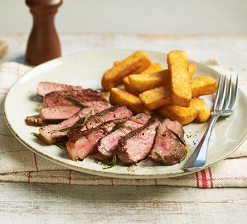Sirloin steak with chips on plate