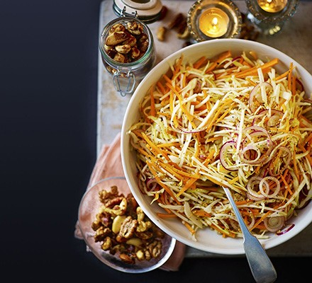 Winter slaw with maple candied nuts