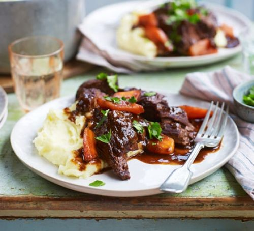 Slow cooker beef stew served on a plate