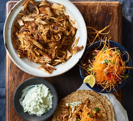 Slow cooker Goan pulled pork with salad and wraps