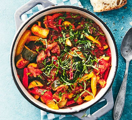 Slow cooker ratatouille served in a casserole dish