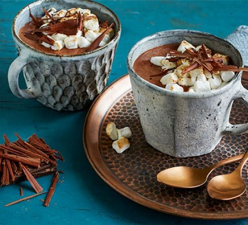 Two mugs of hot chocolate, topped with marshmallows