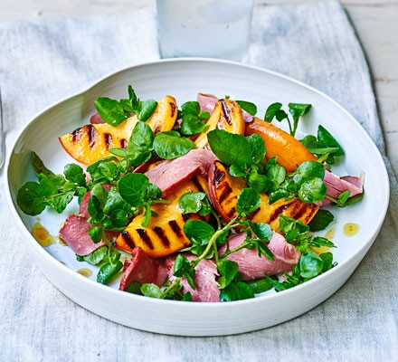Smoked duck & grilled peach salad