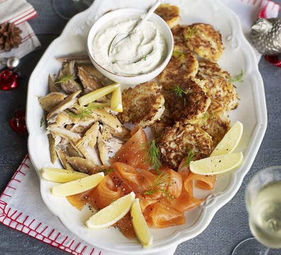 Smoked fish & potato latkes sharing platter